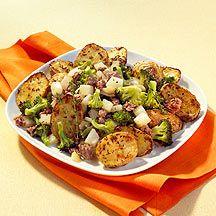 Patatas crujientes al horno con verdura y carne picada