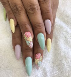 Easter Nail art , color powder acrylic. Pastel colors. Pink, yellow , green , purple, blue. 3D nail art flowers