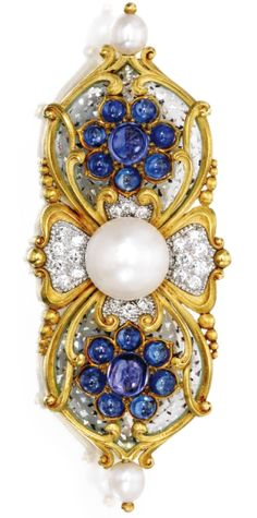 An 18 Karat Gold, Natural Pearl, Sapphire, Diamond and Plique-à-Jour Enamel Brooch, ; circa 1897.