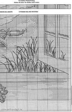 Cross Stitch Sea, Cross Stitch Flowers, Cross Stitch Charts, Cross Stitch Designs, Cross Stitch Patterns, Cross Stitching, Cross Stitch Embroidery, Cross Stitch Landscape, Blue Cross