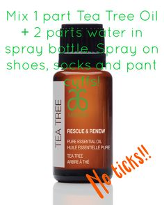 #arbonne #essentialoils #teatree Pure, Safe and Beneficial ingredients in Arbonne's All new Tea Treats Oil. Use 1 part tea tree oil plus 2 parts water in a spray bottle and spray on your socks, shoes and pant cuffs to deter ticks from climbing on you!
