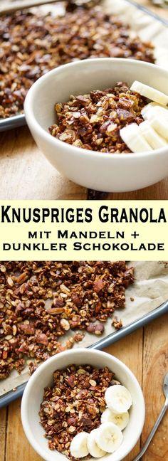 Ein Rezept für ein selbstgemachtes Gerste Granola mit Mandeln und dunkler Schokolade. Es enthält unglaublich viele Nährstoffe und ist damit ein perfektes und gesundes Frühstück. Einfache Gesunde Rezepte - Elle Republic  #granola #knüspermüsli #vegan #vegetarisch #buchweizen #gerste #mandeln #schokolade #dunklerschokolade #gesund #einfach #schnell #rezept #frühstück