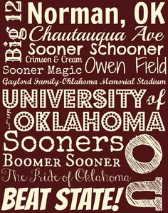 Show your Sooner pride AND feed an orphan for a month!! And it's gift-wrapped...all for $30!! Oklahoma Sooners 11 X 14 inch canvas by EstSignsFeedsOrphans, $30.00