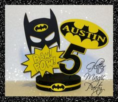 Batman Centerpiece Personalized with Name and Age Batman Party Made to Order | eBay