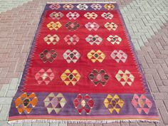 Turkish-Kilim-Rug-Vintage-Rug-Area-Rugs-Modern-Rug-69-2-034-x111-8-034-Turkish-Carpet