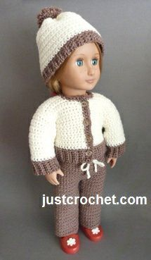 Free crochet pattern for 18 inch doll, will fit American girl, Our Generation etc. http://www.justcrochet.com/jacket-hat-pants-usa.html #justcrochet