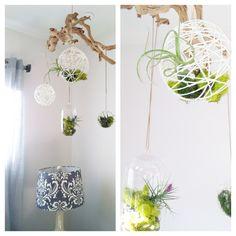 String mâché and glass globes.
