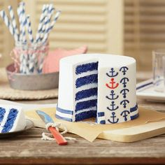 Nautical Anchor Layer Cake Someone make me this! Nautical Cake, Nautical Party, Nautical Anchor, Anchor Party, Cake Cookies, Cupcake Cakes, Cupcakes, Beach Dessert, Boat Cake