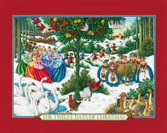 "1000 piece jigsaw puzzle. Finished size: 24"" x 30"". Artist: Lynn Bywaters. The 12 Days of Christmas has been a favorite Christmas carol since its first English printing in the 1700s. As a puzzle, it is fun to do as well as a fun way to remember the song. This highly stylized version, rich in jewel tones, will have you searching the picture as you put together each verse of the song. From the distant drummers, the dancing ladies, the swimming swans, and the blossoming pear tree filled with…"