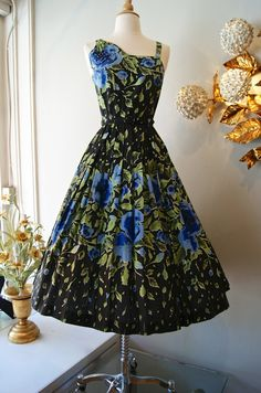 Vintage 1950s Dress // 50's Blue Rose Garden Party Dress on Etsy, $398.00
