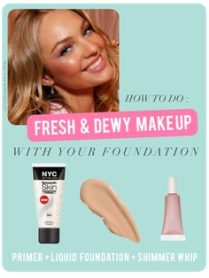 """Dewy skin tutorial.  Foundation+primer....easy trick for applying foundation without looking """"overdone"""""""