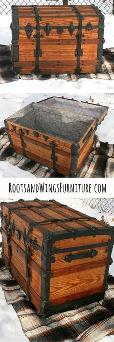 A refurbished steamer trunk. See the details on the blog!