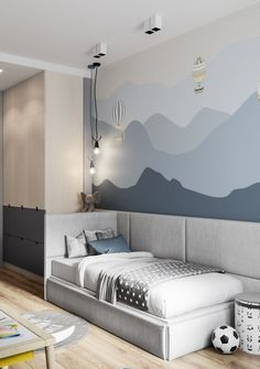 Cute kids bedroom with hot air balloon wall graphic #hotairballoon #playroom