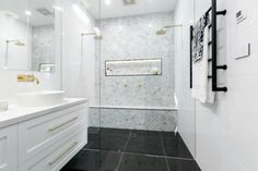 We're swooning over those tiles (and towels) used by Julia and Sasha in their luxe Master Bathroom! Shop the look at The Block Shop now. Hampton Style Bathrooms, Bathroom Styling, Ensuite Bathroom, Amazing Bathrooms, Tile Bathroom, The Block Bathroom, Laundry In Bathroom, Bathroom Renovations, Bathroom Design