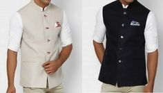 Any colored sleeveless Nehru jacket + crisp white shirt/kurta inside, roll sleeves to elbows + tuck a colored silk hankee in the chest pocket + aviators = instant style Nehru Jacket For Men, Waistcoat Men, Nehru Jackets, Mens Traditional Wear, Modi Jacket, Mens Ethnic Wear, Mens Sherwani, Indian Groom Wear, Cocktail Outfit