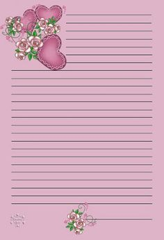 Stationery - Purple with Hearts Printable Lined Paper, Free Printable Stationery, Lined Writing Paper, Writing Papers, Notebook Paper, Stationery Paper, Planner Pages, Note Paper, Paper Decorations