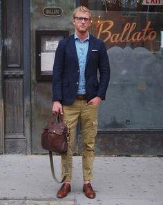 Men's Navy Blazer, Light Blue Long Sleeve Shirt, Olive Cargo Pants, Brown Leather Oxford Shoes