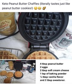 Everyone loves a good cookie. My Keto Peanut Butter Cookie Recipe is one made with love. Created out of memories of my own mom's cookie recipe, this is a perfect low carb dessert option to share with your friends and family. Low Carb Sweets, Low Carb Desserts, Low Carb Recipes, Waffle Iron Recipes, Comida Keto, Eat Better, Keto Waffle, Keto Bread, Low Carb Diet