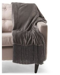 THRO BY MARLO LORENZ Sequined Throw With Fringe