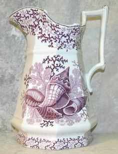 Antique Stafffordshire transferware pitcher with seaweed pattern in purple by John Ridgway