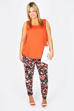 adfb53b2bb1b0 Black And Orange Palm Print Jersey Harem Trousers Plus Size Harem Pants