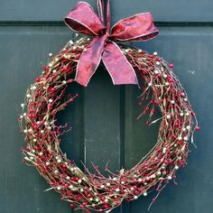 Red & Gold Berry Wreath for Holiday Front Door Decor