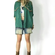 """Vintage Boho Hippie Rancher Top l xl Cool vintage 70s """"borrowed from the boys"""" oversized button up shirt Collar and front pockets are trimmed with tiny colored bead strands and nice ribbon trim buttons up the front 100% Cotton Estimated size: l/xl  Measurements  Shoulder to shoulder: 21"""" Armpit/waist meas lying flat/doubled Armpit 46"""" -Waist: 46""""- Length: 18""""  condition fabric shows fading, pale bleach out looking pattern throughout - possibly natural to the dye process or from laundering?…"""