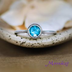 Choice of Stone Swiss Blue Topaz Filigree Ring in Sterling Filigree Mount Solitaire Ring Silver Engagement or Promise Ring