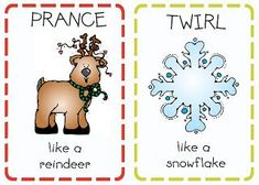 """free printable action cards for a game of """"Santa Says"""""""