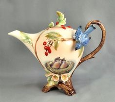 Jameson Tailor 3 Toed Blue Bird Teapot Fine Porcelain Hand Painted Germany | eBay