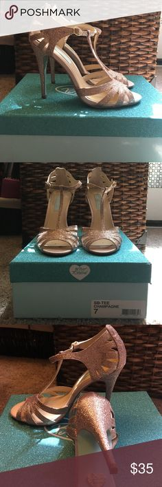 """Betsey Johnson Blue Betsey Johnson """"Blue"""" edition heels with the light blue bottoms! Worn ONCE to a Wedding! Comfortable! Champagne Color. True Size 7! Heel Height 5'. Don't want to give up so give me a good offer! ❤️ Betsey Johnson Shoes Heels"""