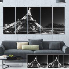 DESIGN ART Designart 'Car Light Trails in Front of Eiffel' Cityscape Photo Print