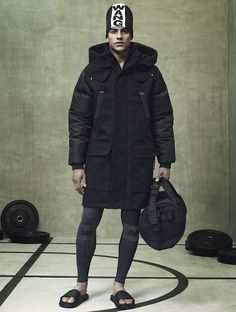 Voluminous coats are paired with sporty leggings and beanies for an urban, minimalist look