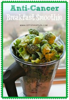 If you're looking for a healing smoothie, then you need this recipe. My Anti-Cancer Green Breakfast Smoothie is dairy-free and vegan with frozen broccoli. Healthy Drinks, Healthy Snacks, Healthy Eating, Green Breakfast Smoothie, Breakfast Juice, Raw Food Recipes, Healthy Recipes, Veggie Smoothies, Broccoli Smoothie