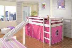 Donco Kids Twin-size Tent Loft Bed with Slide (White / Pink Tent) Girls Bunk Beds, Loft Bunk Beds, Low Loft Beds, Modern Bunk Beds, Kid Beds, Bunk Bed Tent, Bunk Bed With Slide, Bunk Beds With Stairs, Kids Tents