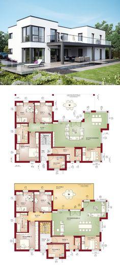 Zweifamilienhaus mit Einliegerwohnung Haus modern im Bauhausstil mit Flachdach-Architektur - Fertighaus Grundriss Celebration 282 V7 Bien Zenker - HausbauDirekt.de