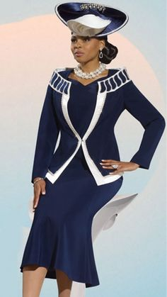 This glamorous 3-piece set from Donna Vinci embraces a classy navy and white palette that will have you looking stylish and sophisticated Ideal for church or any important occasion it is available with a matching designer hat