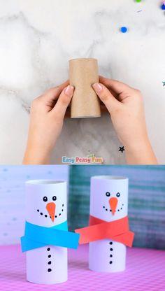 Paper Roll Snowman Craft – Winter Crafts for Kids - Bastelarbeiten - Babysitting Winter Crafts For Kids, Christmas Crafts For Kids, Halloween Crafts, Holiday Crafts, Christmas Diy, Christmas Games, Christmas Activities, Preschool Crafts, Fun Crafts