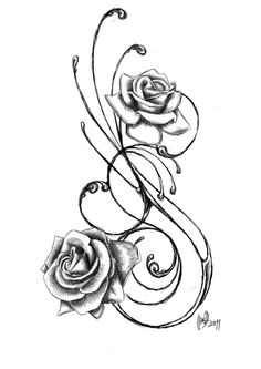 Rose tattoo design. Add a couple more little roses and this is what I want on my hip.