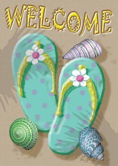 Coastal | Welcome Flip Flops Flag | MadAboutGardening.com