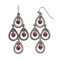 Croft & Barrow® Raspberry Beaded Teardrop Kite Earrings, Red