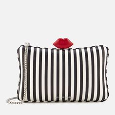 Get Lulu Guinness Women's Lavinia Stripe Leather Clutch Bag - Black/Chalk now at Coggles - the one stop shop for the sartorially minded shopper. Striped Bags, Lulu Guinness, Types Of Bag, Leather Clutch Bags, Stripe Print, Red Lips, Evening Bags, Vintage Inspired, Stripes