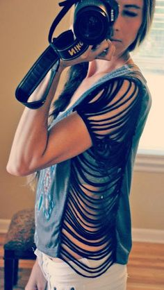 DIY Clothes DIY Refashion DIY Trash To Couture DIY Fringe Seam Tee.