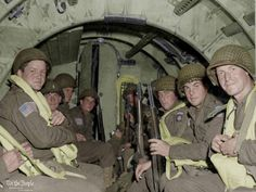 Men of the 82nd Airborne Division training for D-Day, 1944.   The 82nd Airborne Division was among the first to fight in Normandy, France on D-Day and were part of the largest airborne assault in history.   They fought for 33 days before being relieved and sent back to England. Nearly half of the original contingent was either killed or wounded.
