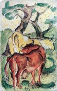 Art Print by Franz Marc on Canvas or glossy Poster Paper · Metal Print - or Acrylic Art Print · Custom Wall Art in different sizes Franz Marc, August Macke, Cavalier Bleu, George Grosz, Cubist Art, Cow Painting, Vintage Artwork, French Art, Acrylic Art
