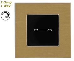GLSTouch Designer Gold & Black Brushed Aluminium Dimmer Touch Light Switch (On/Off) 2 Gang 1 Way