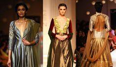 Trends from manish malhotra lakme fashion week winter festive 2013: Deep Vs, slim silhouette anarkalis, high collared necks, peekaboo backs. #indian #Fashion