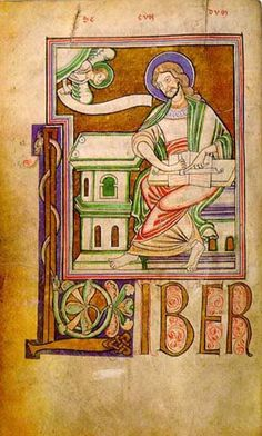 The illustration of St. Mattew from the twelfth-century Dinant Gospels shows the evangelist ruling a manuscript by scoring lines across a double page