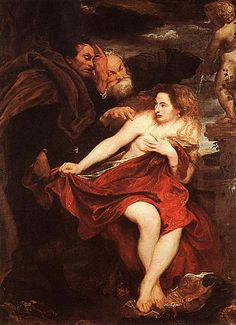 Anthony van Dyke. Susanna and the Elders: 1621-22. Susanna a chaste wife of a wealthy man, Joachim, was taking a bath in her garden, when two lusty elders, judges by profession, saw her and demanded her favors. She cried for help, but the elders raised the alarm themselves and accused her of infidelity: they said they saw her with a young man under a tree. She was sentenced to death...