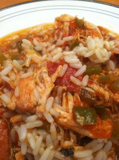 Crockpot jambalaya...really good and not too spicy for the kids w/ rice. Used two gr peppers